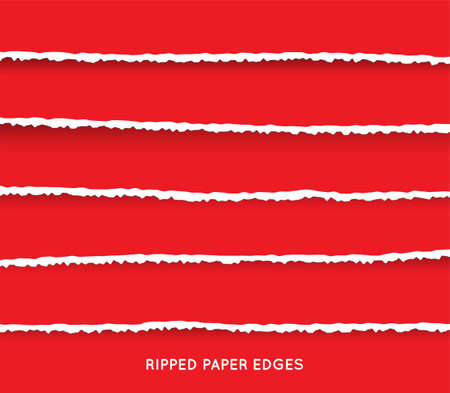 Set of Ripped and Torn Paper Stripes. Texture of Paper with Damaged Edge Isolated on Transparent background. Vector illustration. Vektorgrafik