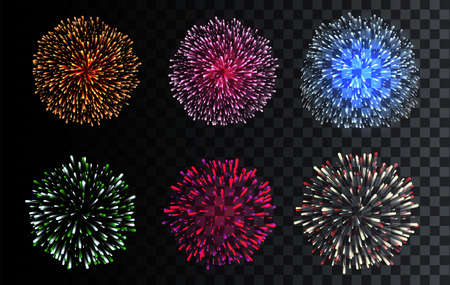Set of isolated Vector Fireworks. Celebration, Christmas, Birthday, Party.
