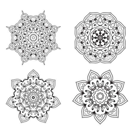 Set of Ethnic Fractal Mandala Tattoo Design looks like Snowflake or Maya Aztec Pattern or Flower.