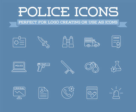 Icons Set of Police Related Icons. Stock Illustratie