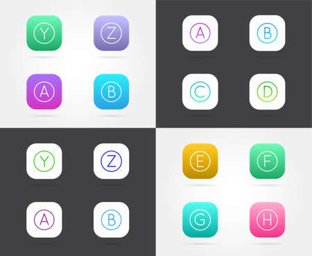 Set of App Icon Templates with Guidelines. Vector Fresh Color.