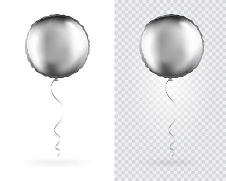Set of Silver Round shaped foil balloons on transparent white background. Party Balloons event design decoration. Mockup for balloon print. Vector.