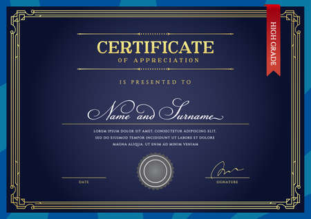 Template Diploma Currency Border. Certificate Award Gift Voucher. Vector illustration.