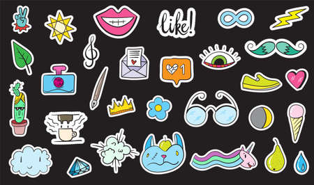 Cute Colorful Modern Patch Set. Fashion patches. Cartoon 80's - 90's style. Vector illustration
