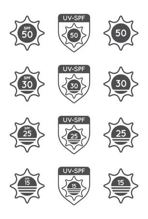 Set of Sun Protection UV Index, SPF 50, SPF 30, 25, 15 Vector Icons Collection.