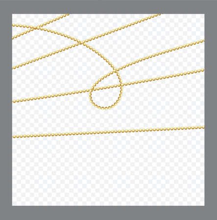 Golden or Bronze Color Round Chain. Realistic String Beads insulated. Decorative element. Gold Bead Design.