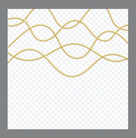 Golden or Bronze Color Round Chain. Realistic String Beads insulated. Decorative element. Gold Bead Design illustration. 일러스트