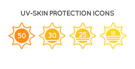 Set of Sun Protection UV Index, SPF 50, SPF 30, 25, 15 Icons Collection.