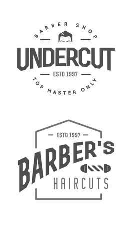 Set of Vintage Barbershop Labels. Templates for the design of logos and emblems. Vector.