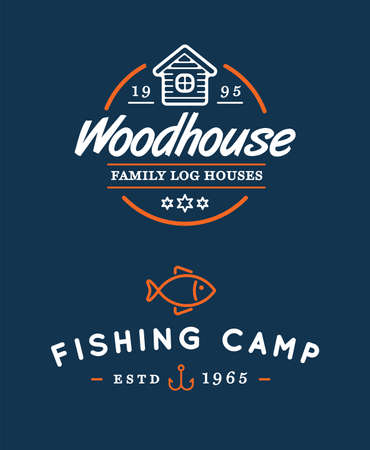 Camping templates vector design elements and silhouettes set, Fishing, Log House.