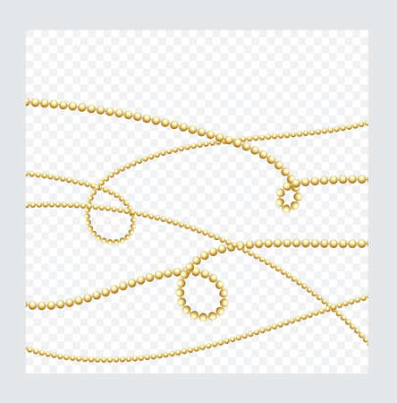 Golden or Bronze Color Round Chain. Realistic String Beads insulated. Decorative element. Gold Bead Design. Vector illustration.