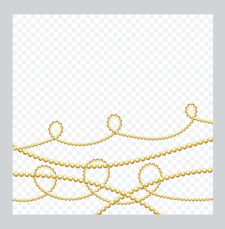 Mardi Gras. Golden or Bronze Color Round Chain. Realistic String Beads insulated. Decorative element. Gold Bead Design. Vector illustration. 일러스트