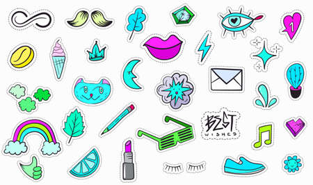 Big Set of Vaporwave Styled Colorful Modern Patches or Stickers. Fashion cyan magenta patches. Cartoon 80's - 90's retrowave style. Vector illustration. 向量圖像