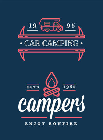 Summer Holidays with Rv Car Home and Bonfire. Vector. Concept for shirt or patch, print, stamp or tee.
