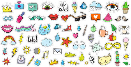 Big Set of Random Stickers Elements like Flower, Heart, Crown, Cloud, Lips, Mail, Diamond, Eyes. Hand Drawn Vector. Cute Fashionable Patches. Doodle Pop art Sketch Badges and Pins. Vettoriali