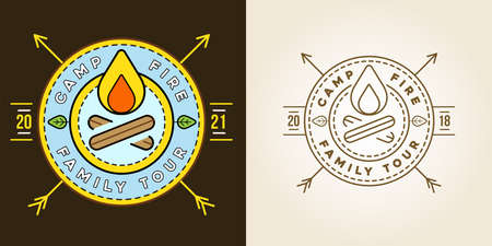 Set of Camp   with Campfire. Vector illustration. Camping. Scout Symbol. Illustration