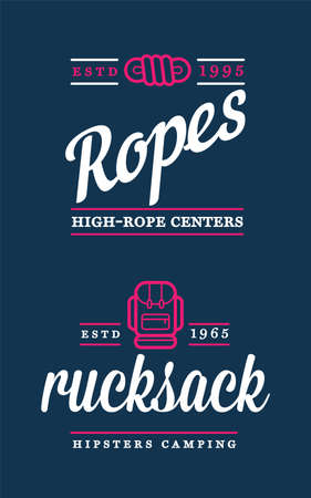 Summer High Rope Park Camp. Vector. Backpack, Rucksack. Concept for shirt or patch, print, stamp or tee. 向量圖像