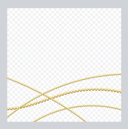 Mardi Gras. Golden or Bronze Color Round Chain. Realistic String Beads insulated. Decorative element. Gold Bead Design. Vector illustration. Ilustracja