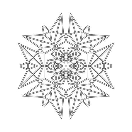 Floral Straight Lined Mandala. Trendy Tattoo Template. Coloring Pages. Illustration