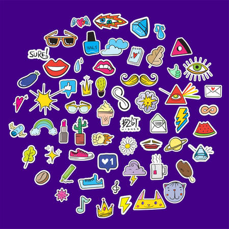Big Set of Random Stickers Elements like Flower, Heart, Crown, Cloud, Lips, Mail, Diamond, Eyes. Hand Drawn Vector. Cute Fashionable Patches. Doodle Pop art Sketch Badges and Pins. 일러스트