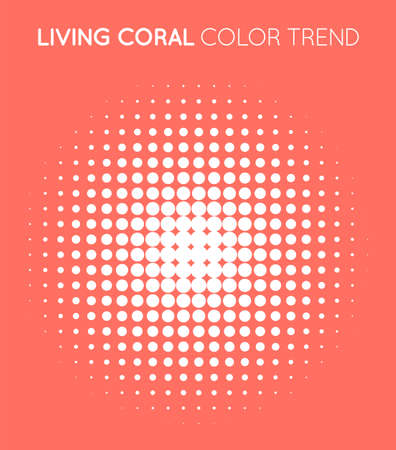 Coral Trendy Color Circle in Halftone, Halftone Dot Pattern, Vector Illustration. 矢量图像