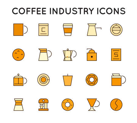 Set of Thin Vector Coffee Elements and Coffee Accessories Illustration can be used as Logo or Icon in premium quality with Text