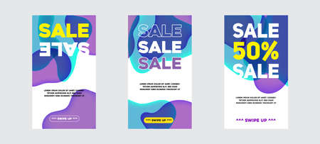 Vector Modern Fluid For Big Sale Banners Design. Discount Banner Promotion Template. With Swipe Up Button. 向量圖像