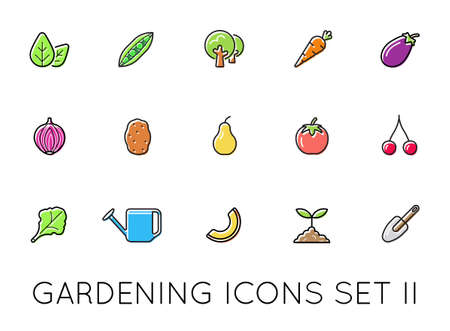 Set of Natural Agroecological Smart Gardening Icons. Eco Food. Vector Illustration Elements.