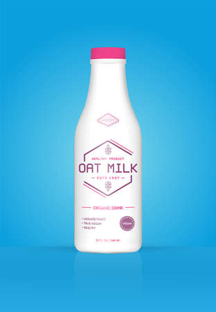 Oat Milk Oatmeal Bottle with Colorful Background. Healthy Organic Product. Vector illustration. Advertising Template. Print Illusztráció