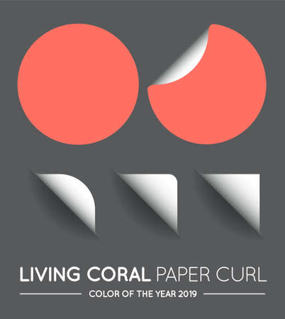 Trendy Color Coral Vector Round Circle with Paper Curl with Shadow Isolated Set.