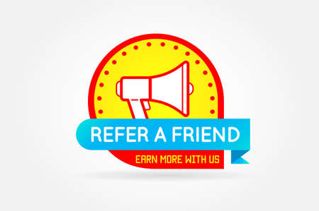 Refer a friend colorful banner or poster. Referral Campaign. Refer and Earn Money. Affiliate Program. Vector.