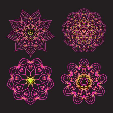 Set of Ethnic Fractal Mandala Vector Tattoo Design looks like Snowflake or Maya Aztec Pattern or Flower.