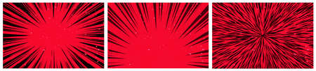 Set of 3 Hyper Speed Warp Sun Rays or Explosions. Boom for Comic Books. Radial Background. Vector.