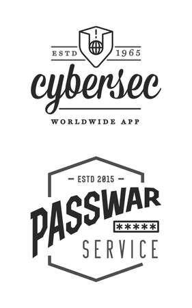 Cyber security sign or banner with icon flat design, application. Encryption, operational. Vector. Minimal.