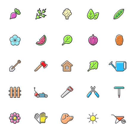 Set of Natural Agroecological Smart Gardening Icons. Eco Food. Vector Illustration Elements.