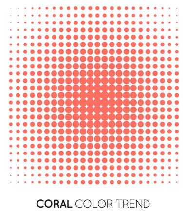 Coral Trendy Color Circle in Halftone, Halftone Dot Pattern, Vector Illustration. Çizim
