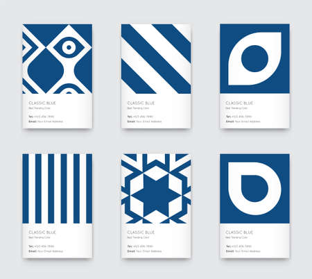 Trendy Classic Blue Color. Vector Minimal Graphic. Vertical Abstract Pattern Cards Set.