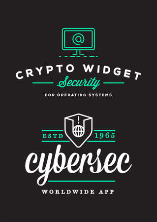 Cyber security Colorful sign or banner with icon flat design, application. Encryption, operational. Vector. Minimal.