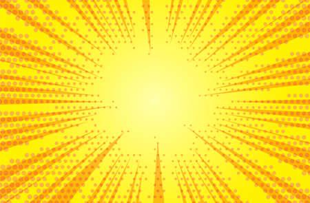 Comic yellow sun rays background pop art retro vector illustration.