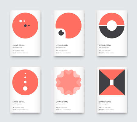 Trendy Color Coral Vector Minimal Graphic Trendy Vertical Abstract Pattern Cards Set Çizim