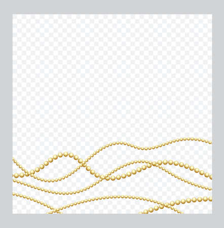 Mardi Gras. Golden or Bronze Color Round Chain. Realistic String Beads insulated. Decorative element. Gold Bead Design. Vector illustration. Stock Illustratie