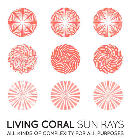 Set of Sunburst Vector Rays of Sun in Trendy Coral Color.