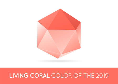 Trendy Crystal Triangulated Gem Sign Element in Trendy Coral Color. Geometric Low Polygon Style. Visual identity Vector