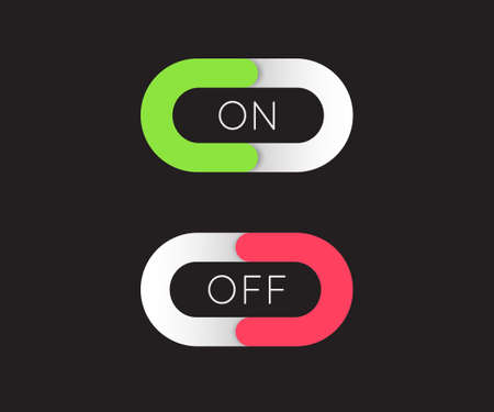 On and Off Toggle Switch Buttons Modern Devices User Interface Vector Graphic Design