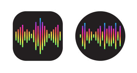 Two Icons Design with Waves of the equalizer. EQ Vector Illustration. Voice Memo Recorder Icon.