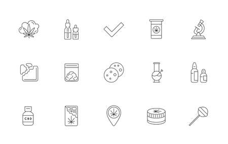Cannabis Production and Shopping Product Icons, Growing. Vector.