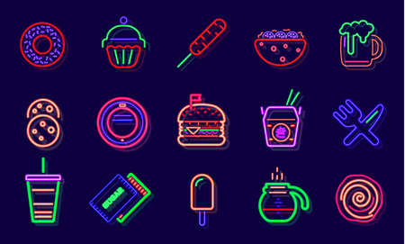 Streetfood Fast Food Drink Neon Sign. Fastfood Restaurant, Burger Cafe or Pizzeria Design. Glowing light signboard. Vector.