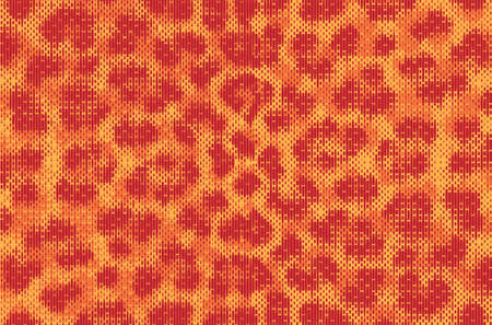 Leopard pixel art style stains pattern design. Dotted Vector Illustration Background. Animal Fur. Red, orange, yellow.