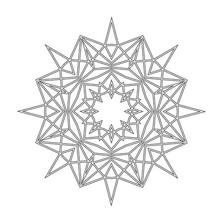 Floral Straight Lined Mandala. Trendy Tattoo Template. Coloring Pages. Vectores