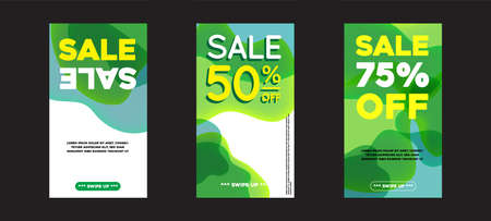 Vector Modern Fluid For Big Sale Banners Design. Discount Banner Promotion Template. With Swipe Up Button. Vectores
